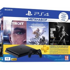 Sony PlayStation 4 Slim 1TB Black Horizon Zero Dawn CE + Detroit + The Last of Us