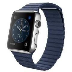 Apple Watch 42mm Stailnless Steel Case with Midnight Blue Leather Loop (MLFD2)